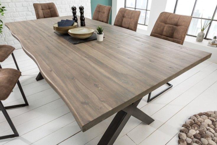 Massiver Baumstamm Tisch Genesis Grey 200cm Akazie Massivholz