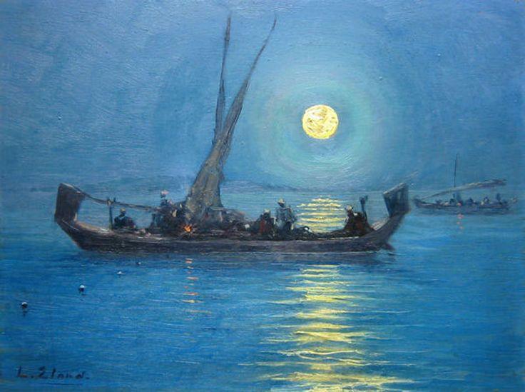 Leo Eland - Vissen bij maanlicht voor Sibolga