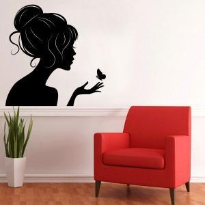 Si quieres darle un toque de ternura y belleza a la decoración de paredes, Vinilos Casa ® te propone este espectacular y exclusivo Vinilo Decorativo, diseñado con una silueta femenina, acompañada de una linda mariposa, y con el que podrás decorar paredes, decorar objetos, decorar puertas, decorar cristales, etc... de forma rápida, fácil y muy económica. Este Vinilo Decorativo es ideal para espacios que requieran de un toque decorativo en las paredes. Visita www.viniloscasa.com