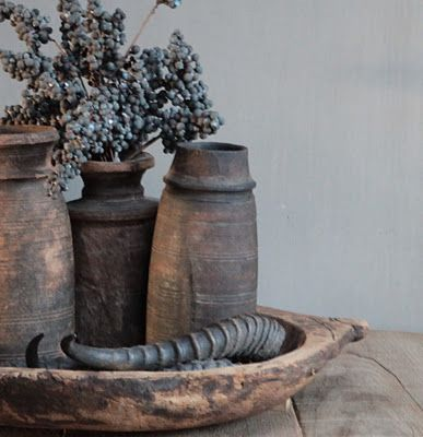 A bunch of dried dates with old wooden jars from Nepal .. Love it