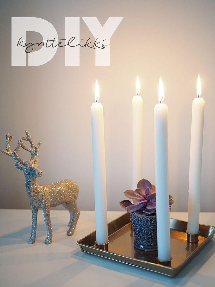 DIY Candle Holder / Itse tehty kynttelikkö. Ohje blogissa