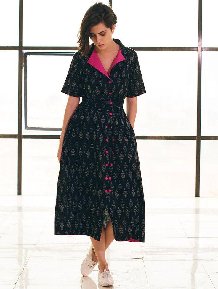 Buy Black Fuschia Button Detailed Ikat Handloom Cotton Jacket Dress Apparel Tops & Dresses Whimsical Weaves Handwoven Online at Jaypore.com