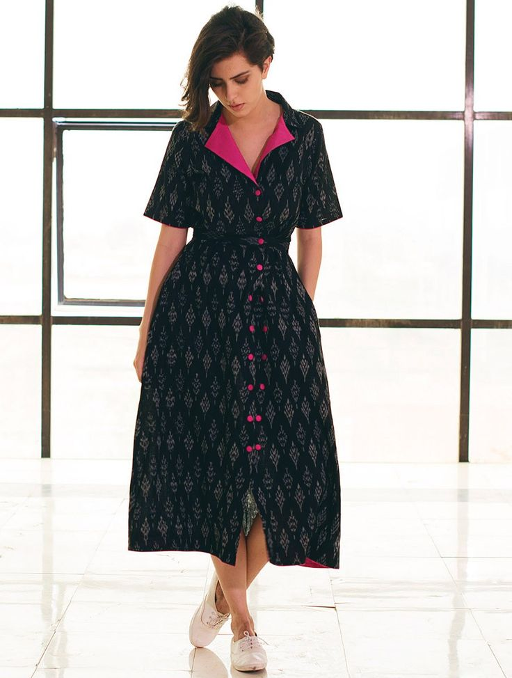 Buy Black Fuschia Button Detailed Ikat Handloom Cotton Jacket Dress Apparel Tops & Dresses Whimsical Weaves Handwoven Online at Jaypore.com