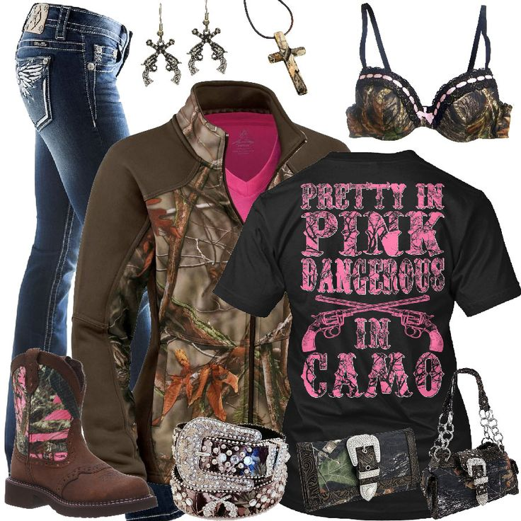 Pretty In Pink Dangerous In Camo Outfit - Real Country Ladies