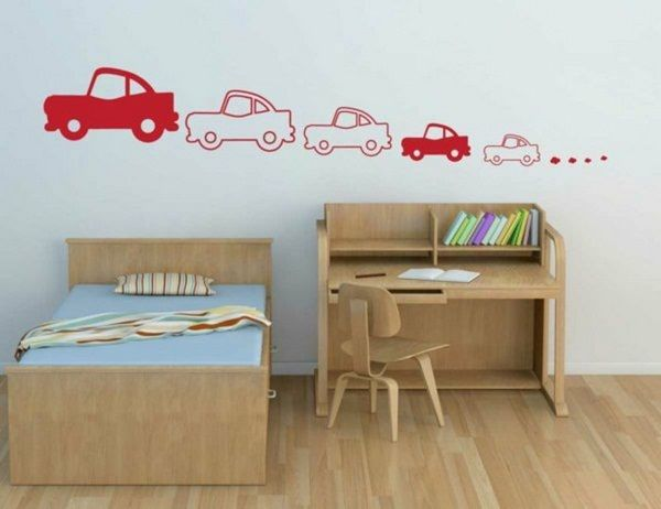 Marvelous wandtattoo nursery cars wall stickers red