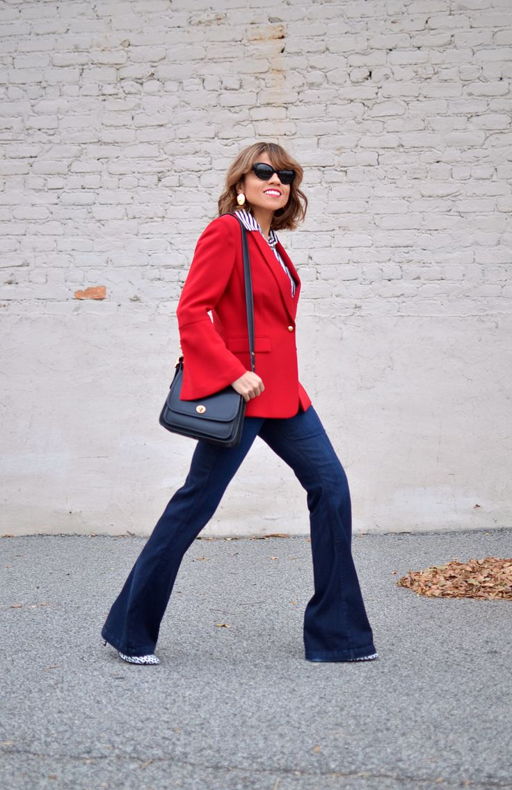 How to wear flare jeans to work.
