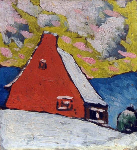 Maison rouge en hiver (1918) - Marc-Aurèle Fortin