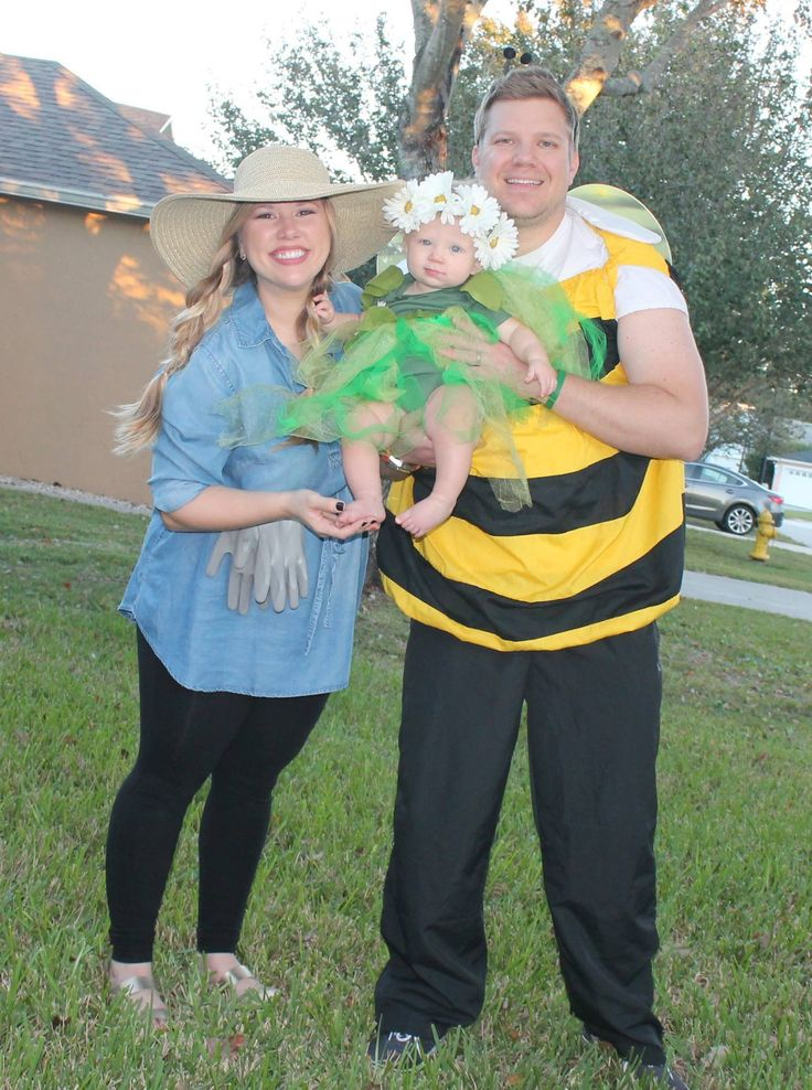 Family Halloween costume: daisy flower, gardener and bumble bee