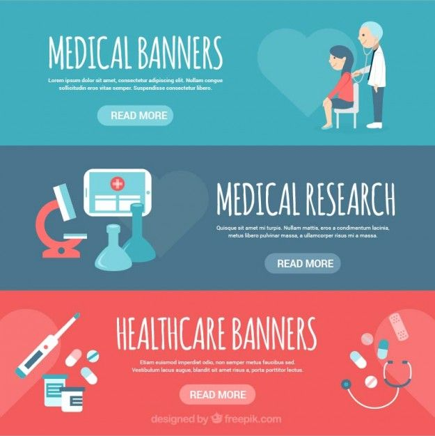 Banners with medical elements Free Vector