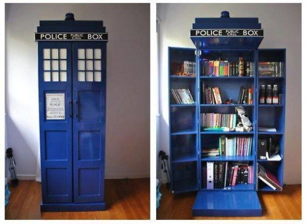 Make your own Tardis Bookshelf. I bet you could get away with a panted IKEA hack, if you used a poly type paint.