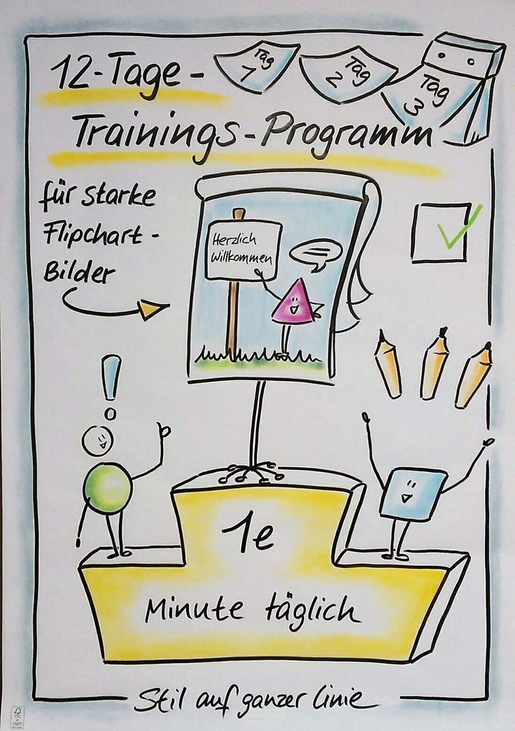 "Freebie zum Download, ""12-Tage-Trainingsprogramm für starke Flipchartbilder"", Flipchart, Flipchartgestaltung, Flipchartseminar, Flipchart-Workshop, Visualisierung, visualisieren, Visualisierungs-Tipps, visuelle Notizen, visual notes, Präsentation, Flipcha"