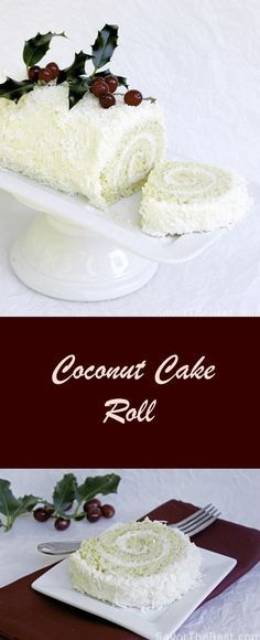 A recipe for a coconut cake roll that is light and not too sweet. It has a filling and frosting of a creamy mixture and covered with shredded coconut.