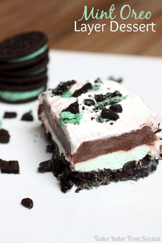No-bake Mint Oreo Layer Dessert from TastesBetterFromScratch.com