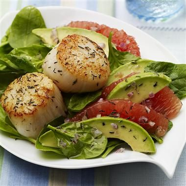 Seared Scallops with Red Grapefruit-Avocado Salad: The addition of scallops turns a traditional grapefruit and avocado salad into an elegant entrée. The antioxidant duo of thyme leaves and a hint of ginger gives this dish an unexpected, yet perfect pairing of flavors.