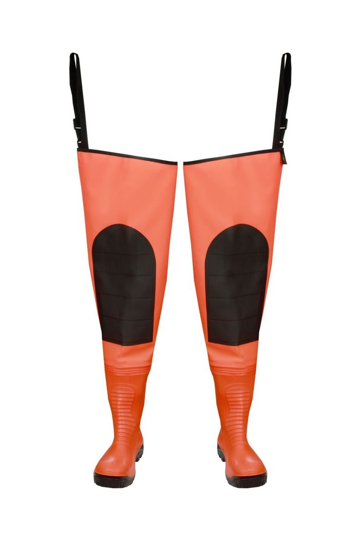 "WATERPROOF WADERS ""MAX S5"" FLUO Model: WRM02 FLUO The thigh waders have been produced with high quality PVC Safety boots S5 type welded in - steel toe cap and steel midsole. The model has knee-protection. Thigh waders have been made on waterproof strong fabric Plavitex Heavy Duty Fluo. It's a good protection against water. The product is recommended to be used in every place where visibility is limited. High frequency welding makes seams stronger."