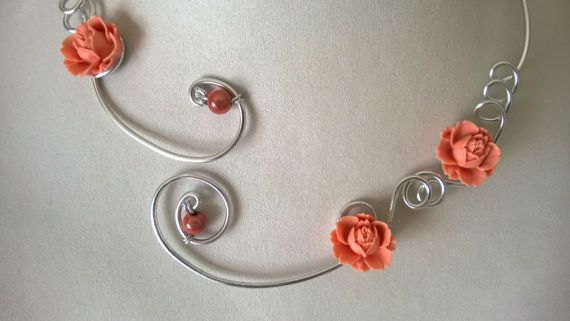 Coral necklace  Coral jewelry Flower necklace  Open collar