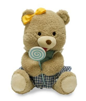 """Lolli The Singing Animated Bear. This singing animated bear bops and licks her lollipop to """"Lollipop"""". Two """"AA"""" batteries required."""