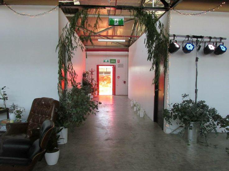 Entrance hall way, tree boughs, leaves, lighting