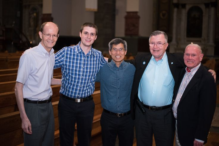Paulist Fr. Ivan Tou is at center of this May, 2017, photo of Paulist Fathers gathered at the Church of St. Paul the Apostle Church in New York City.  (L to R: Paulist Fr. Ken Boyack, Paulist seminarian Evan Cummings, Fr. Ivan, Paulist Fr. Bob O'Donnell and Paulist Fr. George Fitzgerald.)