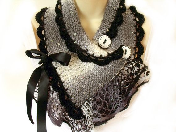 Scarf cowl with buttons knit crochet capelet Victorian steampunk goth