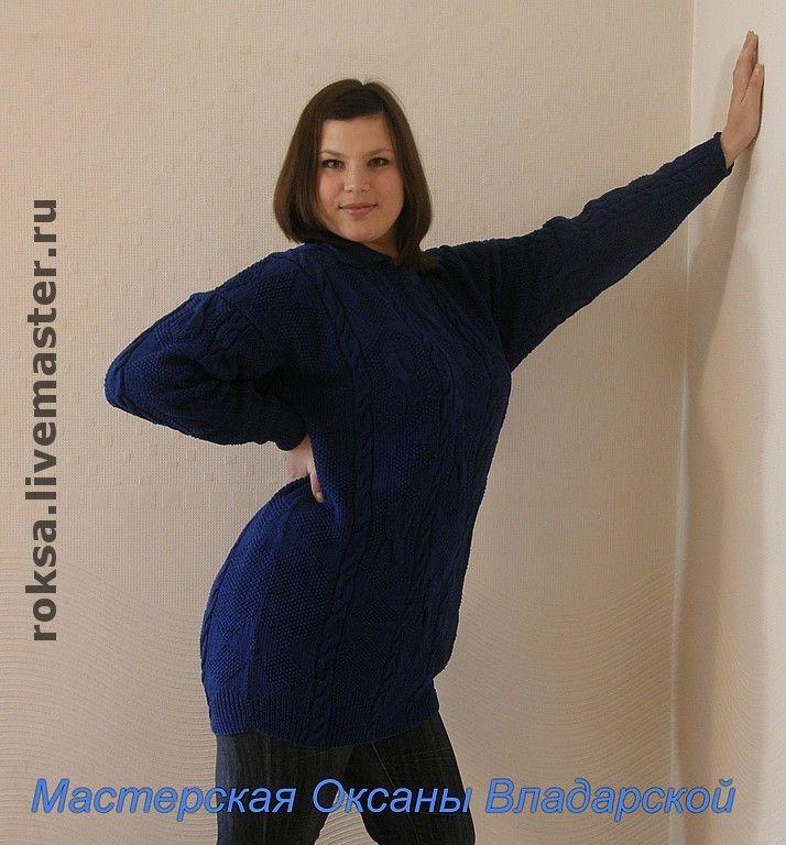 """Вязаный свитер """"Синий-синий"""" - вязаный пуловер,ручное вязание,свитер женский"""