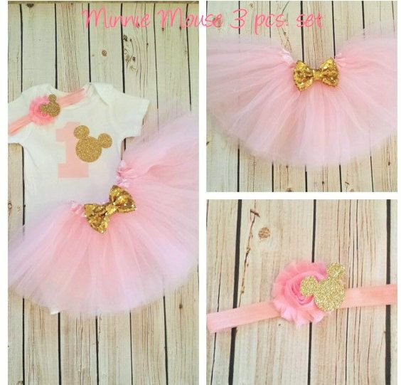 Minnie Mouse rose et or tenue tutu tenue par MyBirthdayBoutiqueCo