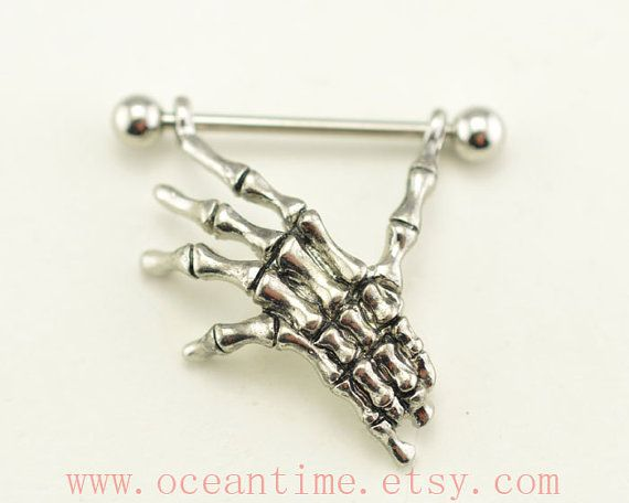 Nipple ring,skull hand 14 Gauge G 14G Nipple Piercing Barbell, steampunk Pierced Ring Jewelry Bar,oceantime