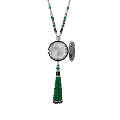 Cartier High Jewelry Secret Pendant watch with panther decoration. Case and pendant in rhodiumized 18K white gold set with 167 emerald beads, 9 onyx beads, a rose-cut diamond and 820 brilliant cut diamonds. Eyes set with 2 pear-shaped emeralds. Translucent lacquered silver-toned sunray effect dial with a brilliant-cut diamond indicator at 12 o'clock. Only one unique piece available.