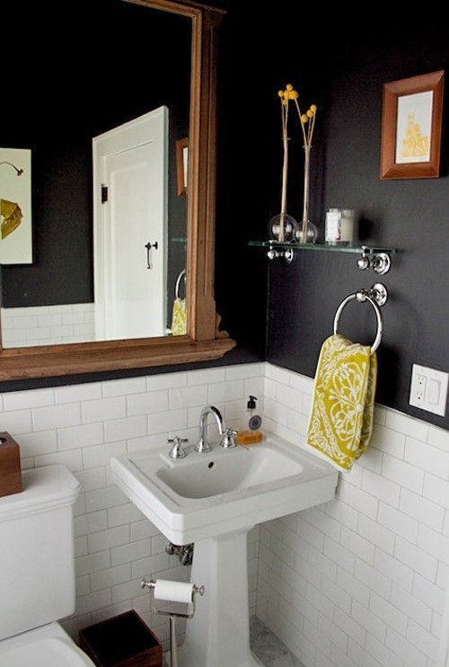 Black yellow bathroom by lynn love the tile on the for Small dark bathroom ideas