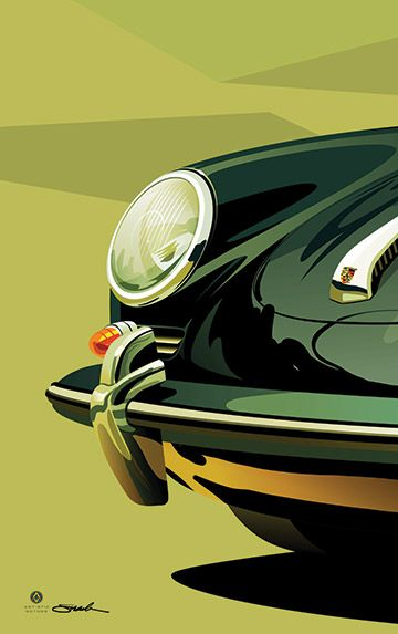 Porsche 356. This print and more are available to purchase at www.artisticmotors.com