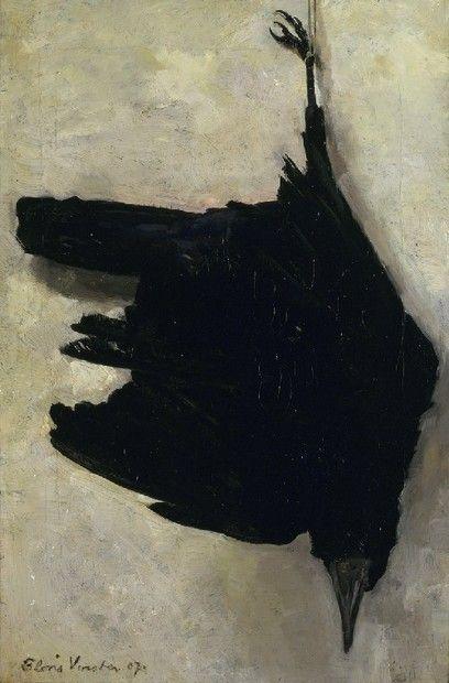 Dode kraai | F. Verster. Als leerling van George Hendrik Breitner was Verster sterk beïnvloed door het impressionisme. Maar in tegenstelling tot zijn leermeester vermeed hij het rumoer en de vitaliteit van de moderne wereld. De laatste jaren van zijn leven stond hij zelfs bekend als 'de kluizenaar van Groenoord'. Zijn onderwerpen ademen een sfeer van bezonkenheid en melancholie.