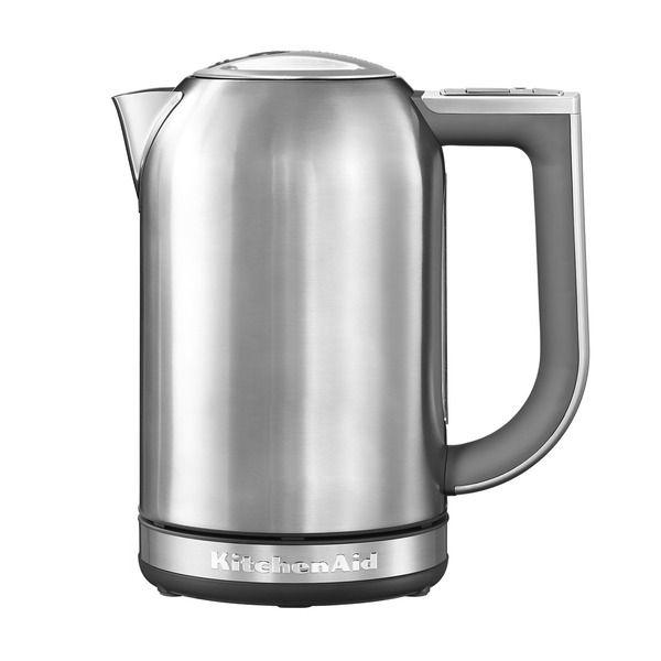 CHIC IN EDELSTAHL Kitchen Aid KitchenAid - Wasserkocher 1,7 l (5KEK1722), Edelstahl Für stilechte Teezeremonien ist ein erstklassiger Wasserkocher unverzichtbar. Ausgestattet mit vielen nützlichen Details, bringt der Wasserkocher 5KEK1722 von KitchenAid das Wasser auf die ideale Temperatur für verschiedene Getränke.