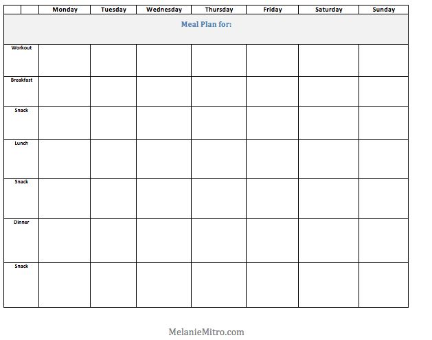 Committed to Get Fit: Melanie Mitro's Weekly Clean Eating Meal Plan  Blank weekly meal plan template.