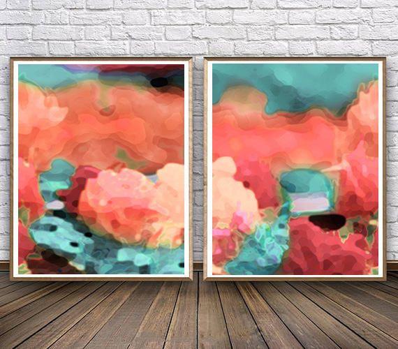 #Setof2 #Printable #WallArt #Coral and #Mint #Decor #Abstract #prints #set #setoftwo #paintings #abstractart #abstractprints #contemporary #printable #interior #design #homedecor #homedecorideas #homedecorideas