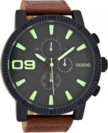Oozoo Large Timepieces Brown Leather Strap C6652