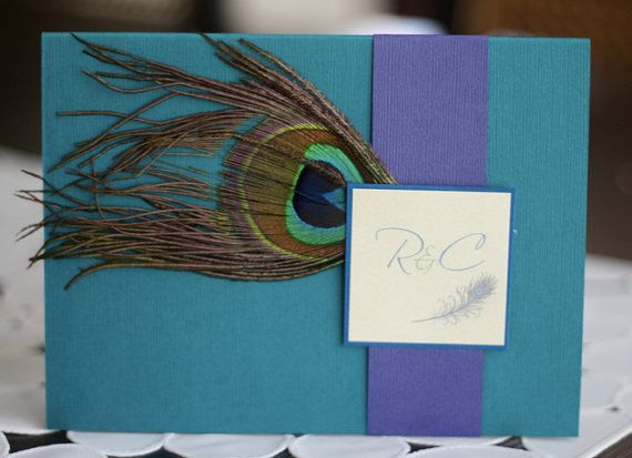 Peacock Wedding Invitation (with monogram) maybe the feather painted/printed on with a metalic dust to it