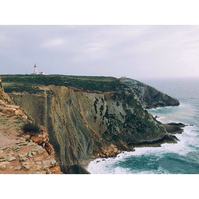 Stunning coastline here in the Setúbal peninsular, Portugal. Here is the Cabo Espichel Lighthouse perched on top of a cliff. #Padgram