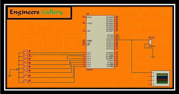 Microcontroller 8051 Piano in Keil and Proteus 8 simulator