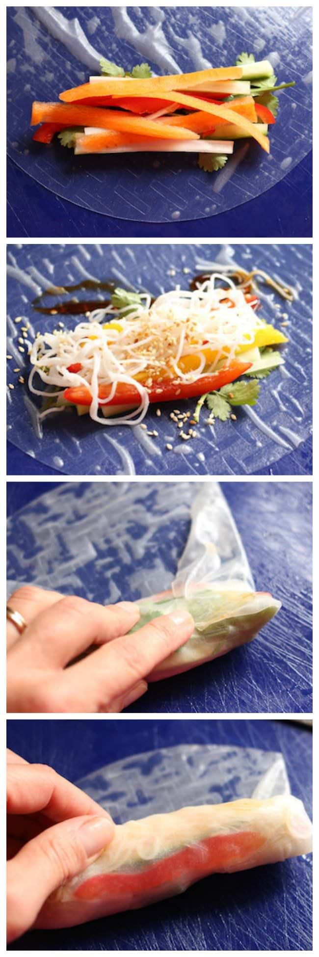 How to Make Healthy Vietnamese Spring Rolls at Home:  they're easy, nutritious and SO delicious!  Get the simple step-by-step! - Happy Hooligans  via @https://www.pinterest.com/happyhooligans/