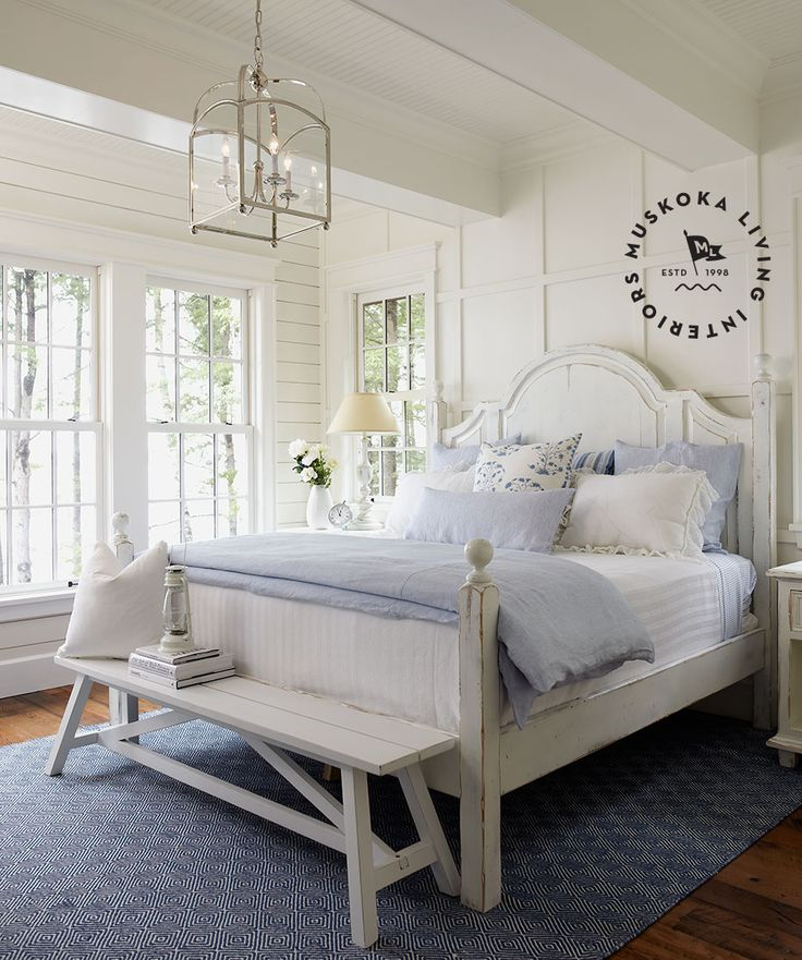 Muskoka Living |ML - Lillyvale - bedroom simple crisp cottage style white with light blue, horizontal wood plank, distressed