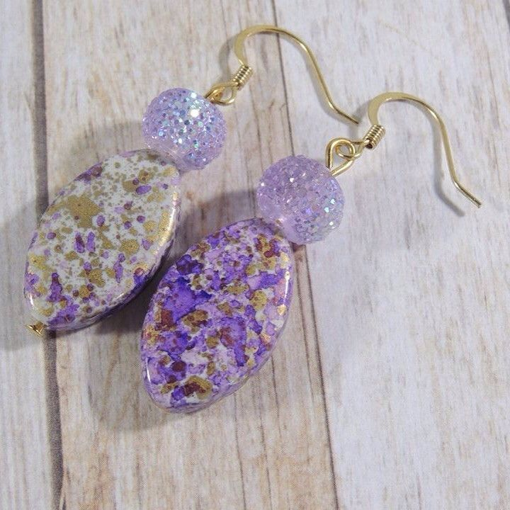 Purple and gold flecked earrings