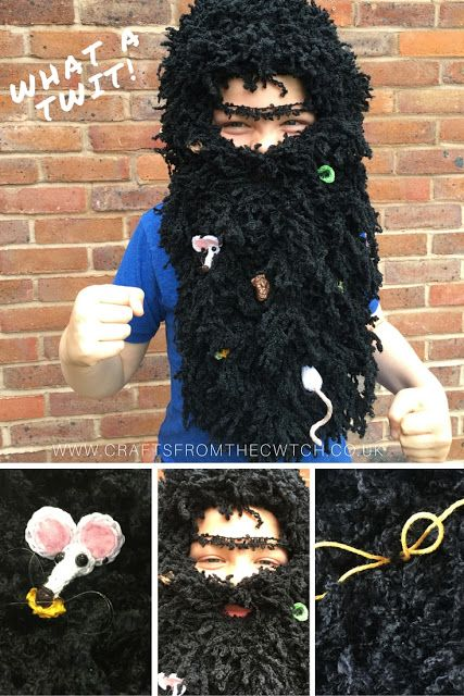 Mr Twit Fancy Dress Beard and wig by Crafts from the Cwtch for Roald Dahl Day 2015