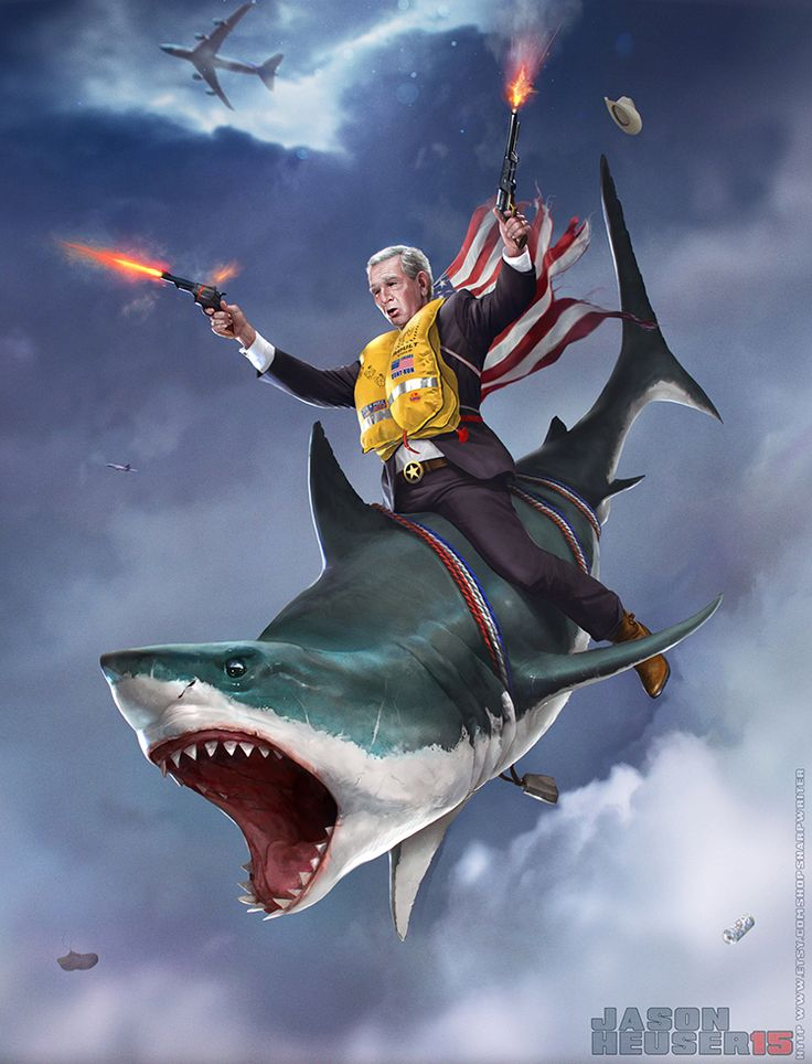 Illustration of George W. Bush Skydiving While Riding on a Deadly Shark and Shooting Pistols