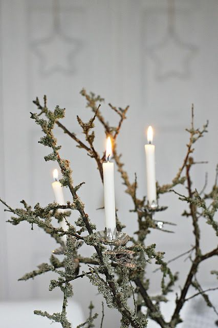 Clean and modern christmas 'tree' with classic lights. Genuine German candle clips and imported candles from www.christmasgiftsfromgermany.com