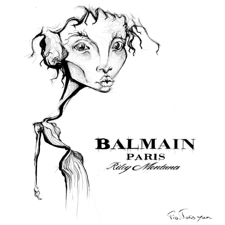 #balmainparis #rileymontana fashion illustration bt tio torosyan