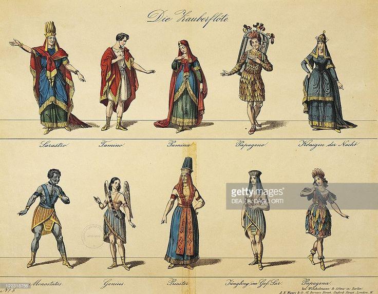 Wolfgang Amadeus Mozart (1756-1791), Die Zauberflote (The Magic Flute), 1791. Costume sketch by Winckelmann for a performance at Vienna, Kindertheater, 19th century.
