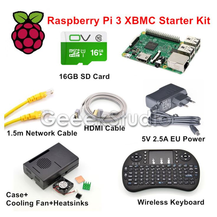Raspberry Pi 3 XBMC KODI OSMC Media Center Kit RF Remote Case 16GB SD Card Network Cable Case Cooling Fan 5V 2.5A Power Supply