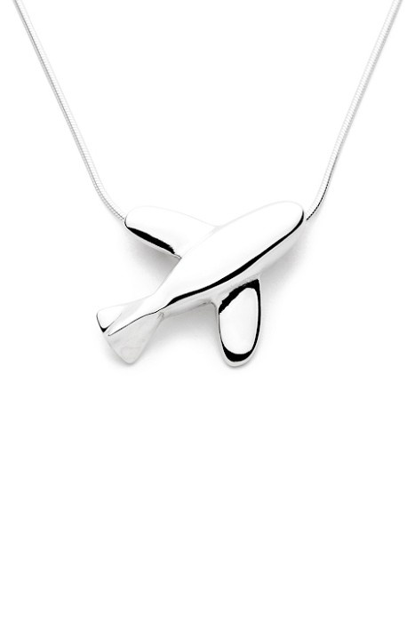 Aeroplane - Handmade Sterling Silver Pendant with Snake Chain - by Purplefish Designs on madeit