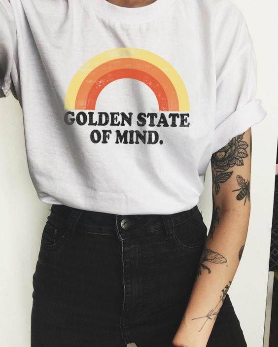 Golden Shirt, Rainbow shirt, Vintage tee, Hipster Clothing, Womens Graphic Tee, Tumblr Shirt, Vintage shirt, Golden state of mind 1
