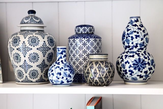 Choice of China style vases #Newport Beach project #hues of blues